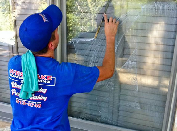 window cleaning service at customer's home